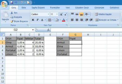 Microsoft Excel Düşeyara Fonksiyonu Bilgisayar